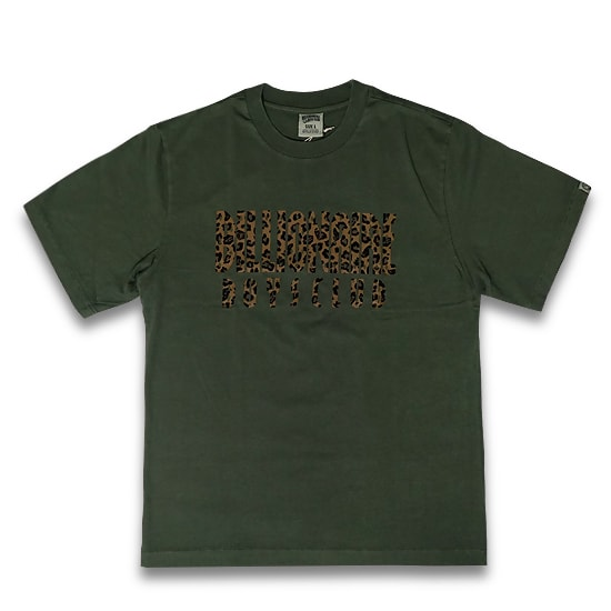 BILLIONAIRE BOYS CLUB Tシャツ -LEOPARD FILL STRAIGHT LOGO T-SHIRT / OLIVE -