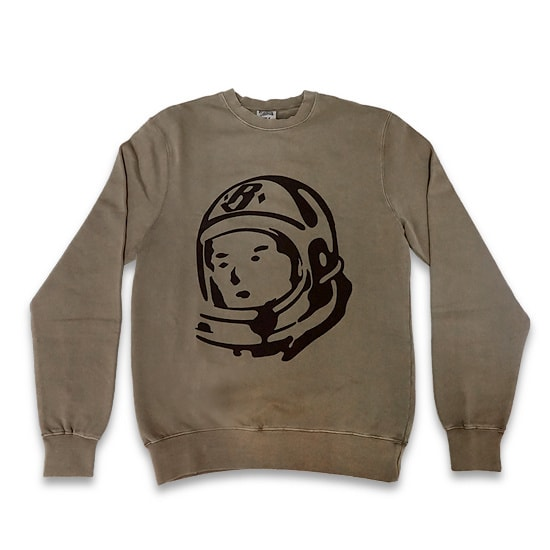 BILLIONAIRE BOYS CLUB トレーナー -DAMAGED CREWNECK SWEATSHIRT / OVERDYE TAUPE-