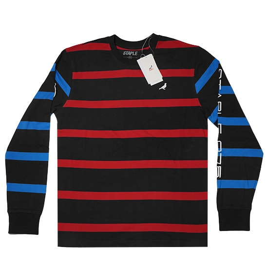 STAPLE ロンT - SKI STRIPE L/S KNIT / BLACK -