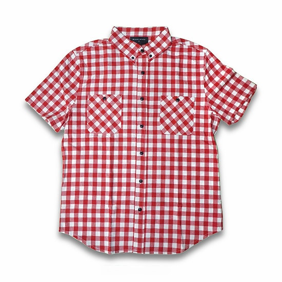 BLACK SCALE シャツ -GINGHAM PLAID SHORT SLEEVE BUTTON DOWN/RED-