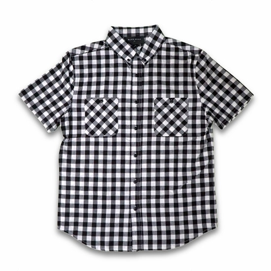 BLACK SCALE シャツ -GINGHAM PLAID SHORT SLEEVE BUTTON DOWN/BLACK-
