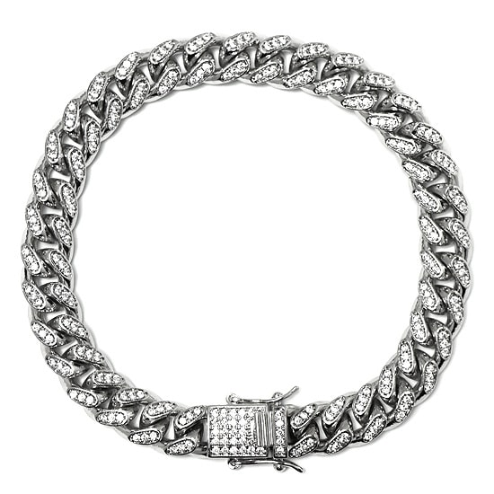 真鍮 ブレスレット - ICED OUT MIAMI CUBAN BRACELET / 10MM [22cm] -