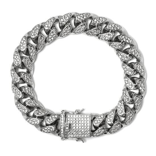 真鍮 ブレスレット - ICED OUT MIAMI CUBAN BRACELET / 14MM [19.5cm] -