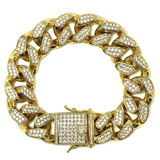 真鍮 ブレスレット - ICED OUT MIAMI CUBAN BRACELET / 19MM [21cm] -