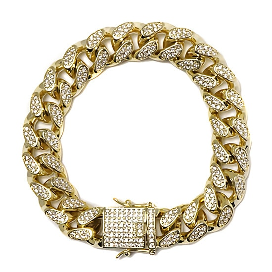 真鍮 ブレスレット - ICED OUT MIAMI CUBAN BRACELET / 14MM [20cm] -