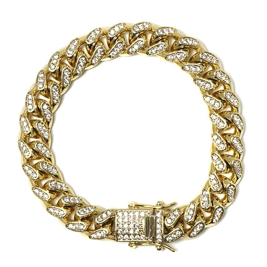 真鍮 ブレスレット - ICED OUT MIAMI CUBAN BRACELET / 10MM[20cm]-