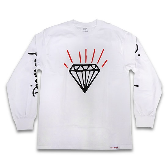 DIAMOND SUPPLY Co. ロンT - GEM LONG SLEEVE TEE / WHITE -